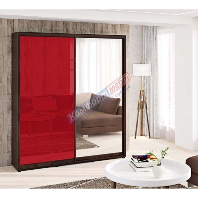 Шкаф-купе двухдверный цветное стекло с зеркалом