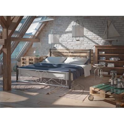 """Металлическая кровать """"Нарцисс на деревянных ногах"""""""