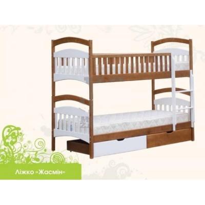 Кровать деревянная двухъярусная Жасмин без шухлядок  TM Mebigrand ольха, 80*200