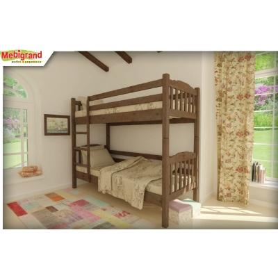 Кровать деревянная двухъярусная Бай-Бай без шухлядок  TM Mebigrand венге, 90*200