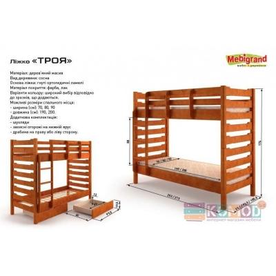 Кровать деревянная Троя без шухлядок  TM Mebigrand ольха, 80*200